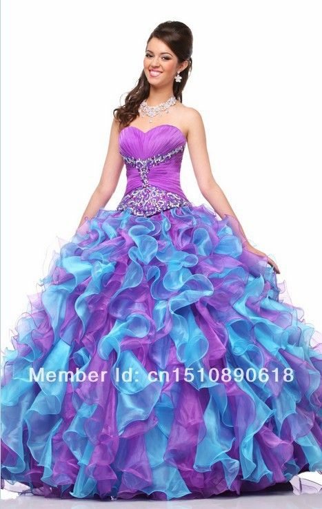 New Fashion 2014 Purple/Turquoise Quinceanera Dresses Layers ...