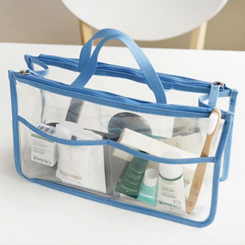 Women Multifunctiona Clear Cosmetics Bag Dual Zipper Toiletry Organizer Handbag