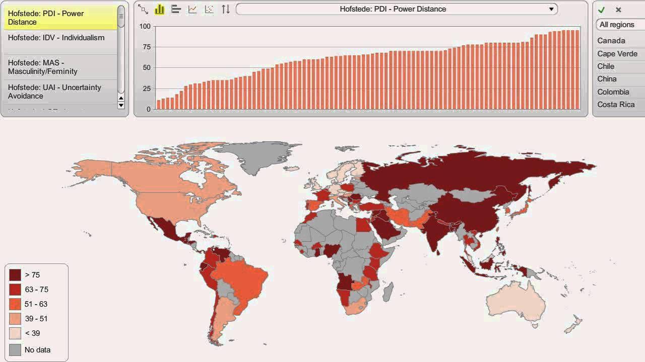 Map The World Hofstedeu0027s 5 Cultural