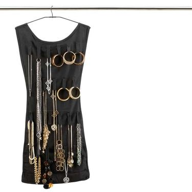 The back side of the LBD has velcro loops to hold necklaces, bracelets, sunglasses, etc.