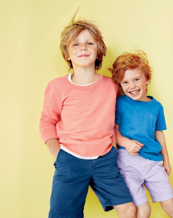 J.Crew boys' garment-dyed sweatshirt, garment-dyed T-shirt and Stanton short in garment-dyed chino.