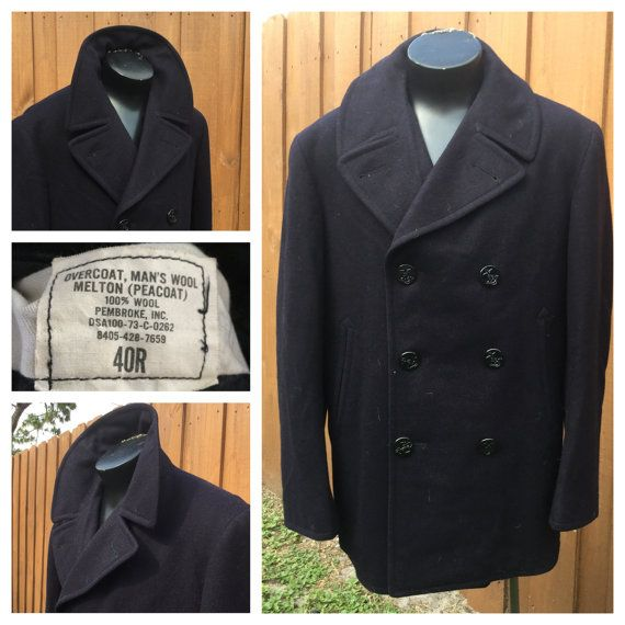 purchase authentic cheap sale attractivefashion VINTAGE 1970s NAVY Melton Wool PEACOAT Pembroke Inc. by ...