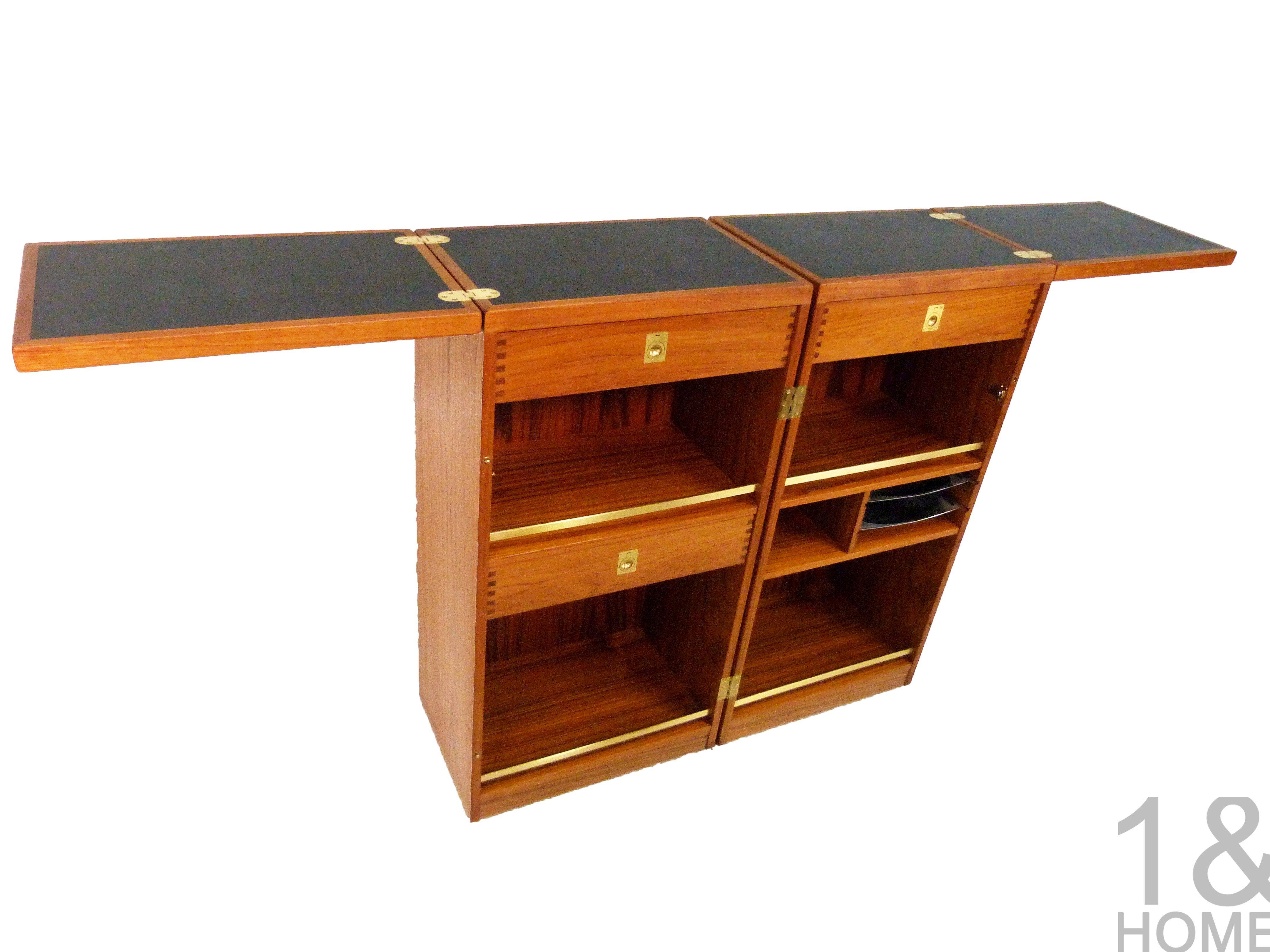 Dyrlund Danish Modern Teak Captains Bar - Folding Cabinet - Denmark ...