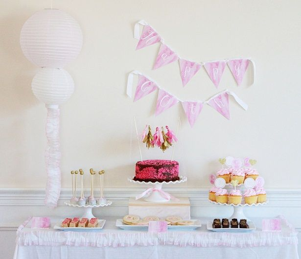 Pink And Gold Watercolor Theme Birthday Party Ideas