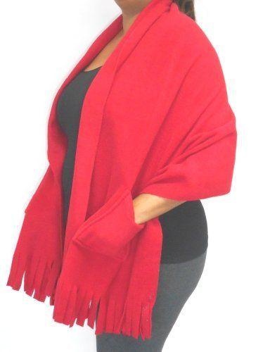 "Polar Fleece Shawl Wrap Shoulder Cozy Pockets, Fringe 78"" x 27"""