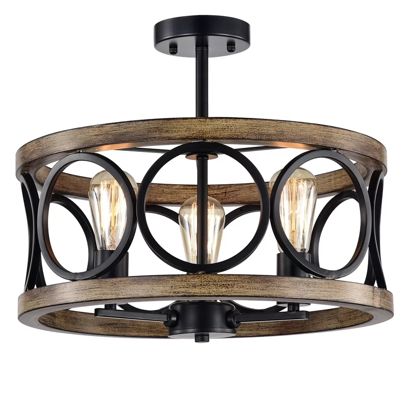 Vasbinder 3 Light 17 72 Shaded Drum Semi Flush Mount Warehouse Of Tiffany Farmhouse Light Fixtures Metal Drum Shade