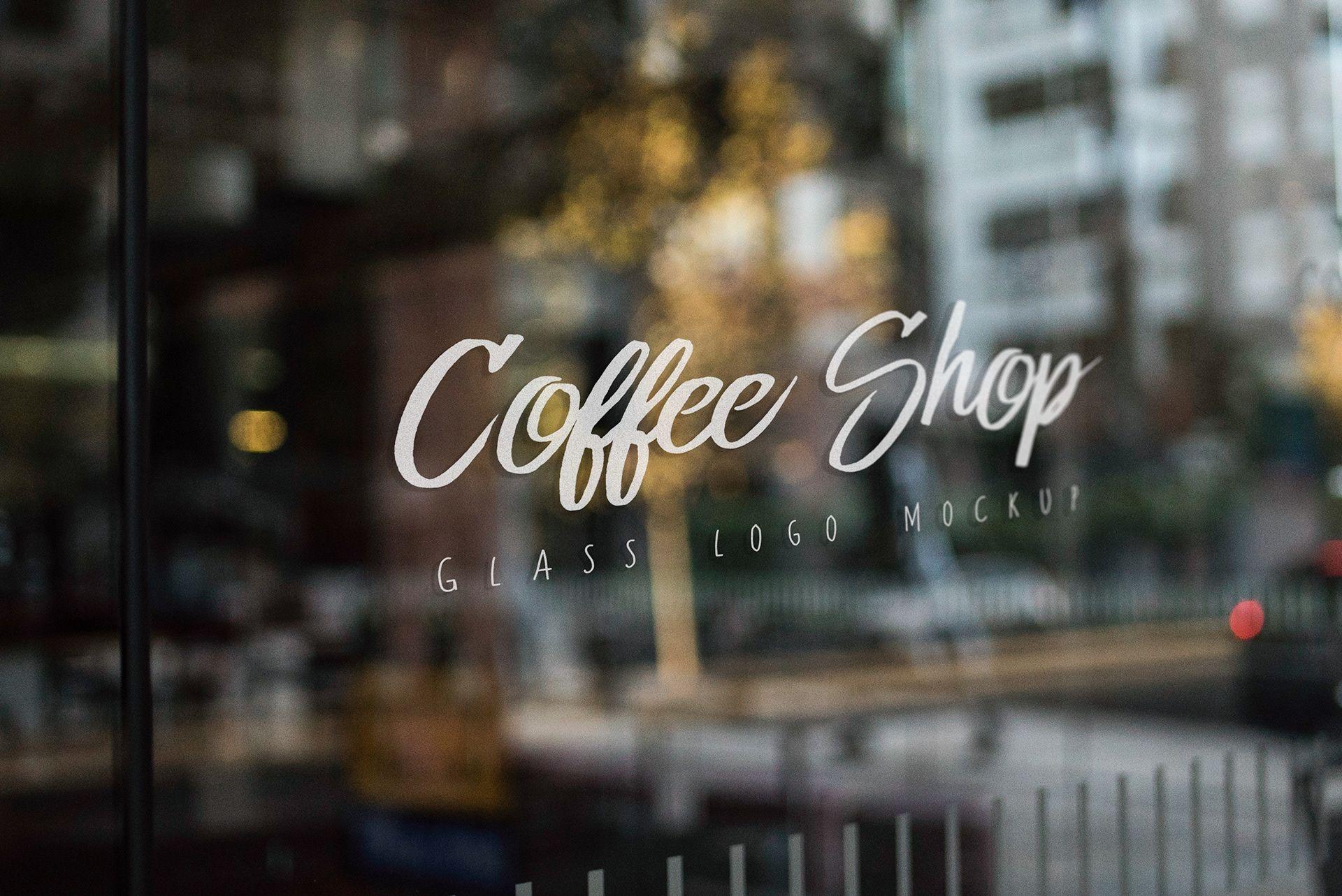 free coffee shop window signage mockup psd
