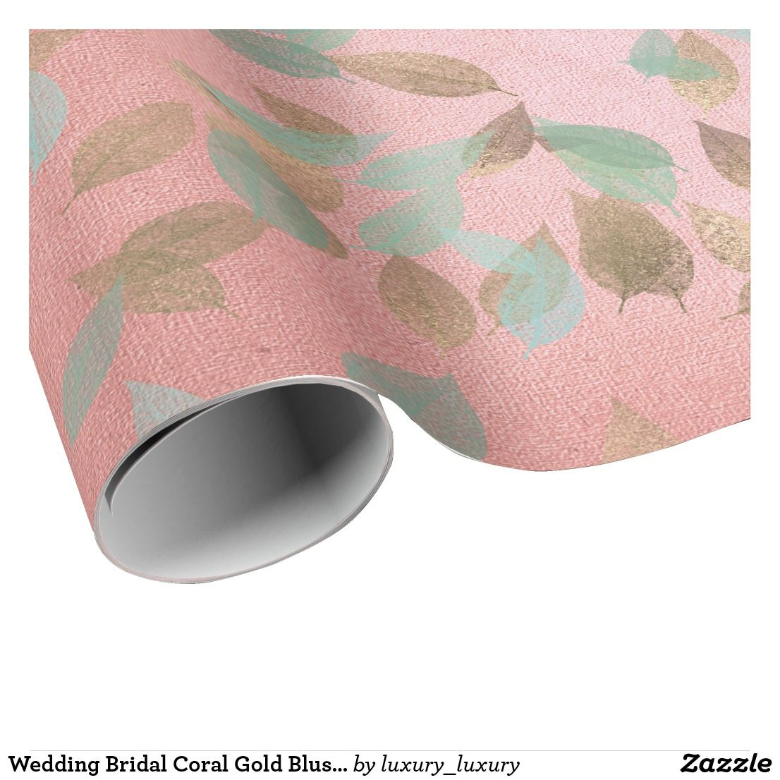 Wedding Bridal Coral Gold Blush Falling Leafs Mint Wrapping Paper ...