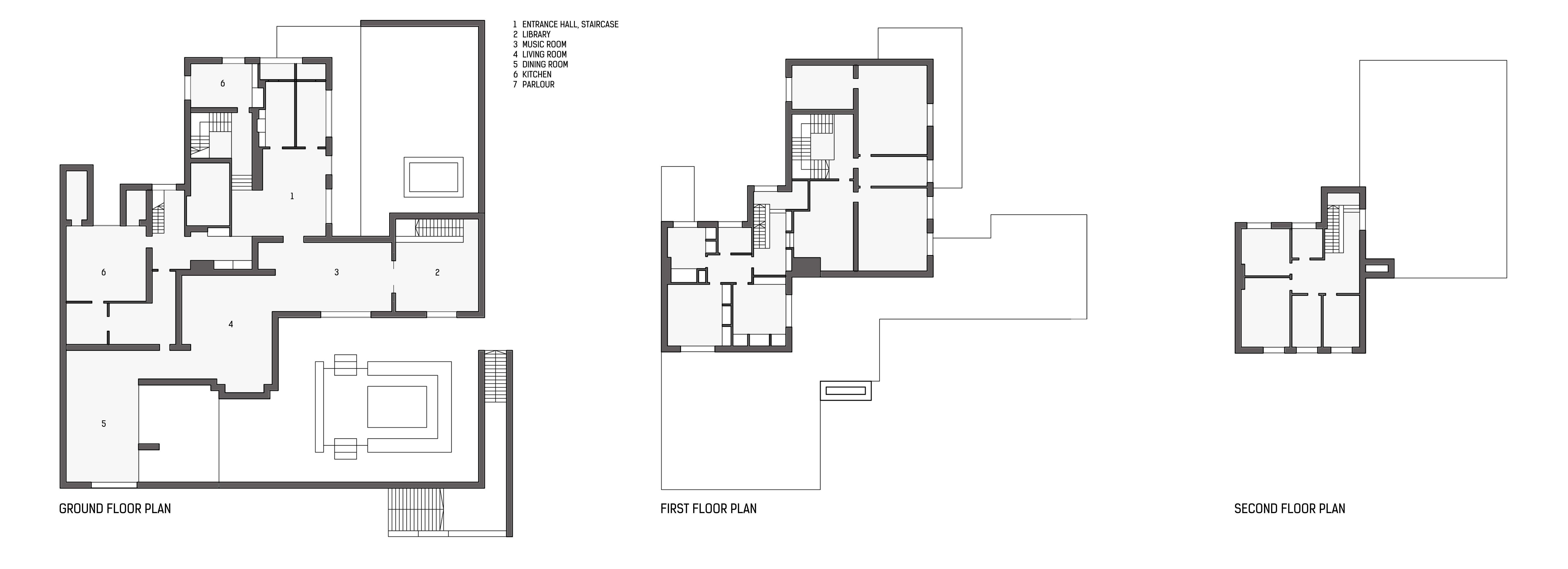 villa-wolf-plans-inventory.jpg (6241×2265) | Ludwig Mies ...