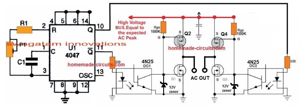 simplest transformerless inverter circuit suing ic 4047 and h bridge PWM H-Bridge