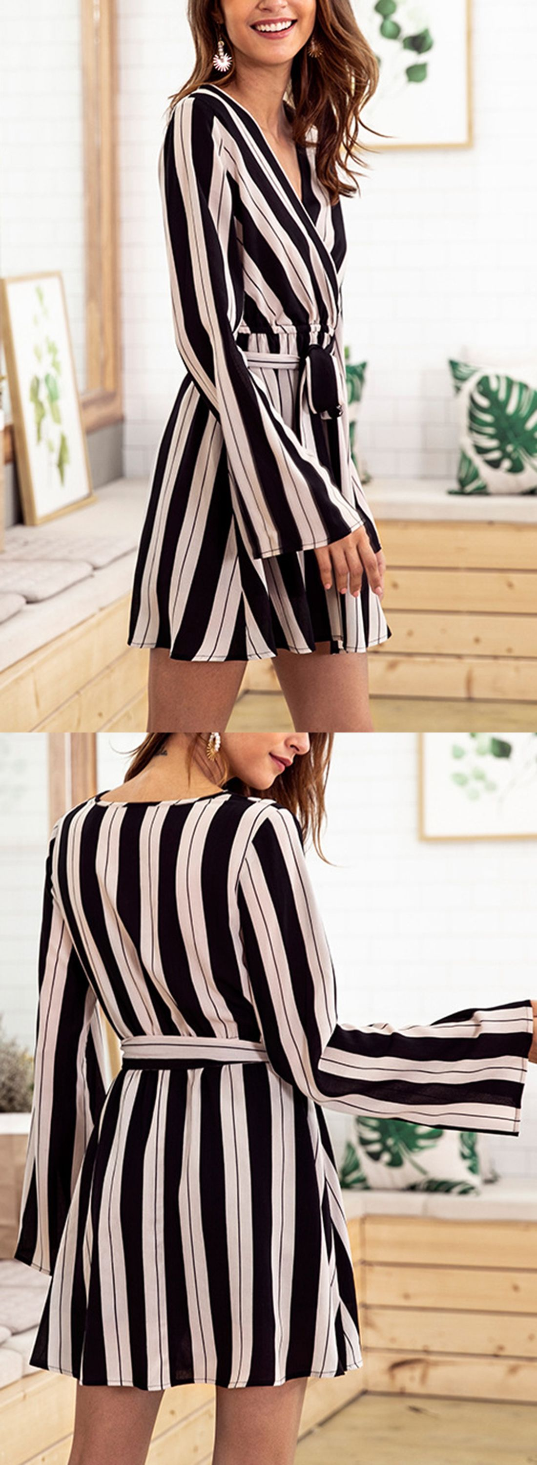 Striped v neck long sleeve high waist aline dress with belt