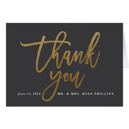 Gold Wedding Thank You Note Card  Note Cards Card Wedding And