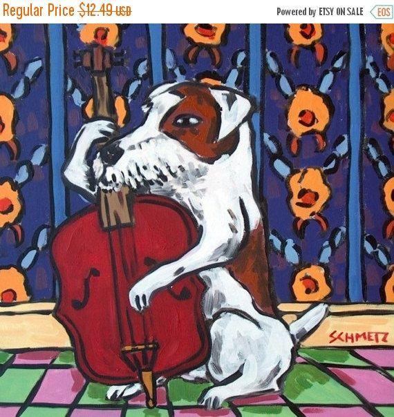 Welsh Terrier dog playing stand up bass Art print 8x10 giclee schmetz gift