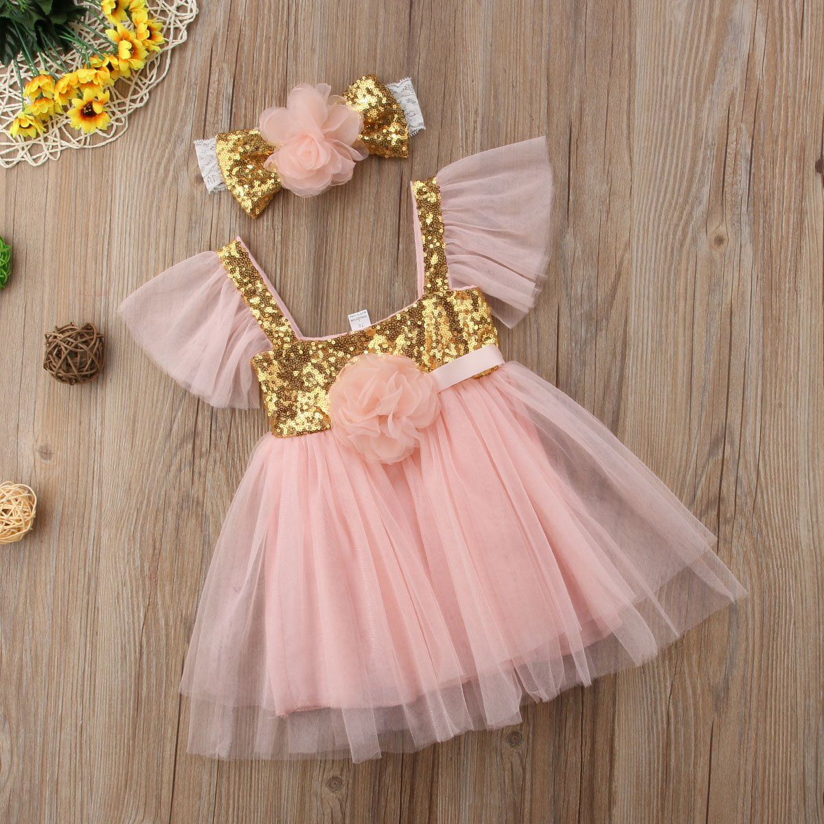 US Toddler Kid Baby Girl Sleeveless Wedding Princess Tulle Dress Sunsuit Outfits