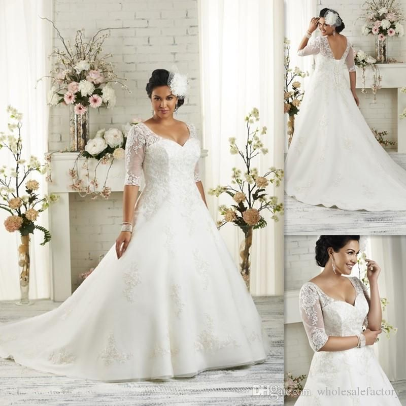 Half Sleeves Plus Size Wedding Dresses 2016 A Line White Tulle Liques Lace Bandage Bridal Gowns