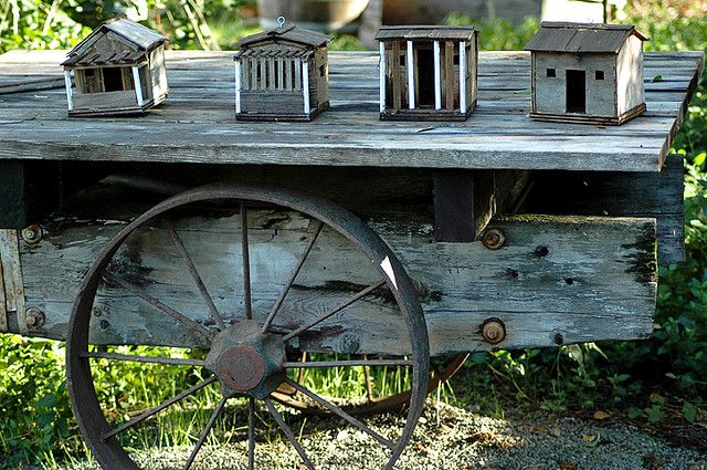 birdhouse and cool old wagon