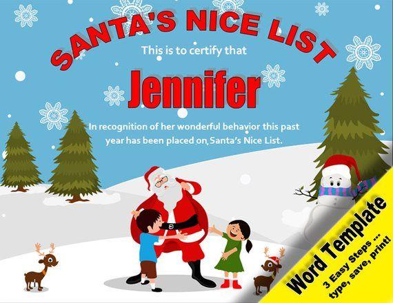 Santas Nice List Editable Word Template Printable Instant Download YOU EDIT Diy Certificate Awards Diplomas Santa