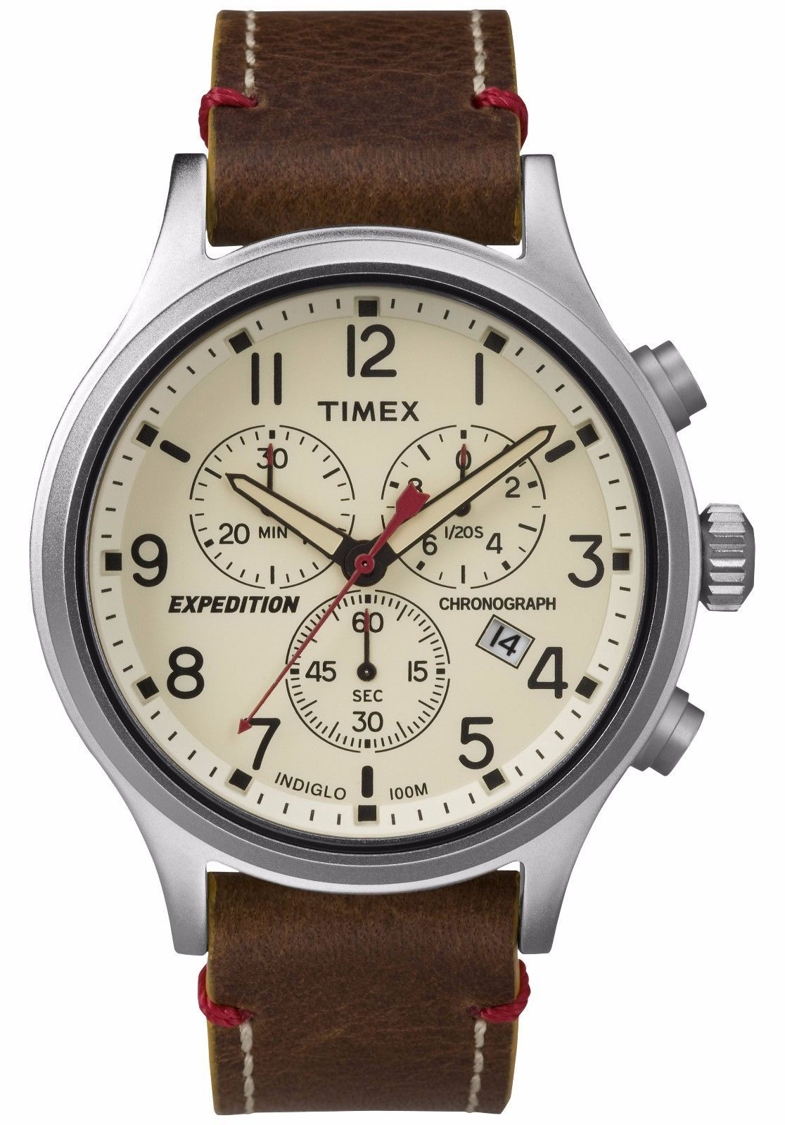 55a755abc032 Timex TW4B04300 Mens Expedition Indiglo Chronograph Brown Leather Band  Watch Reloj Timex