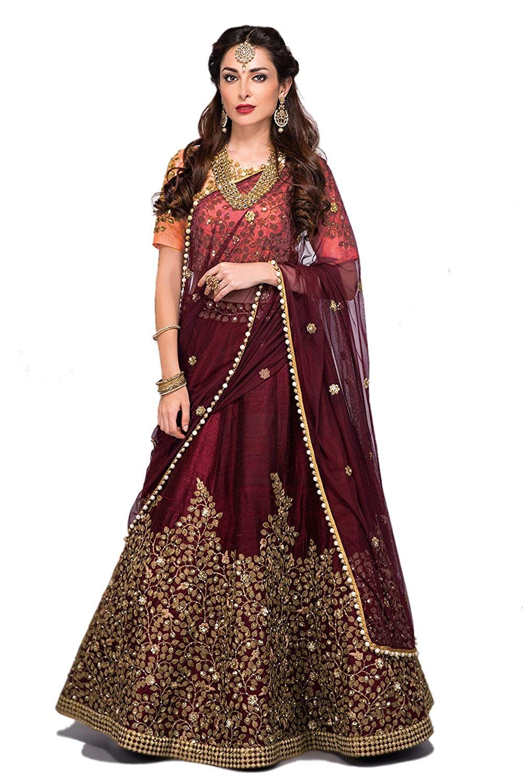 28e9cbaf68 Zeel Clothing Silk Lehenga Choli (ZC7017_Green_Free Size): Amazon.in:  Clothing & Accessories