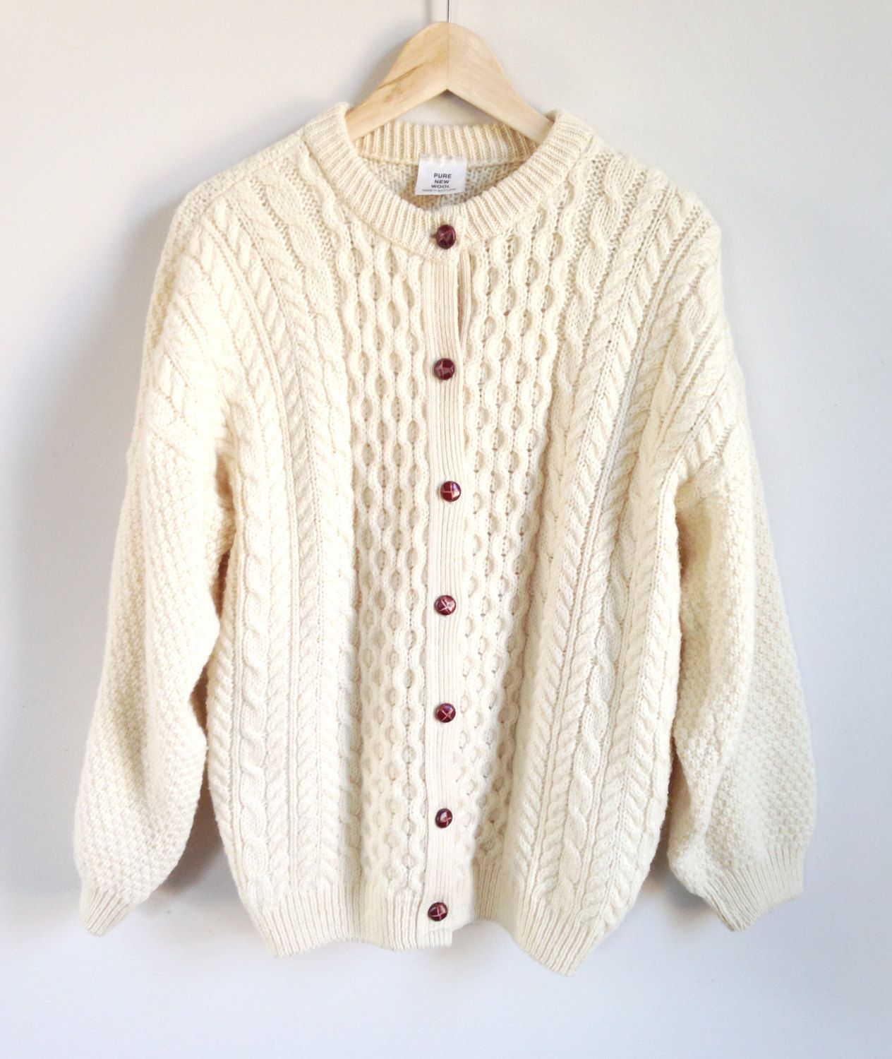 Vintage Fisherman Sweater -- Cable Knit Cardigan -- Chunky Knit Wool --  Cream -- Wood Buttons -- Made in Scotland -- Womens by ImprovGoods on Etsy ffa7ac969