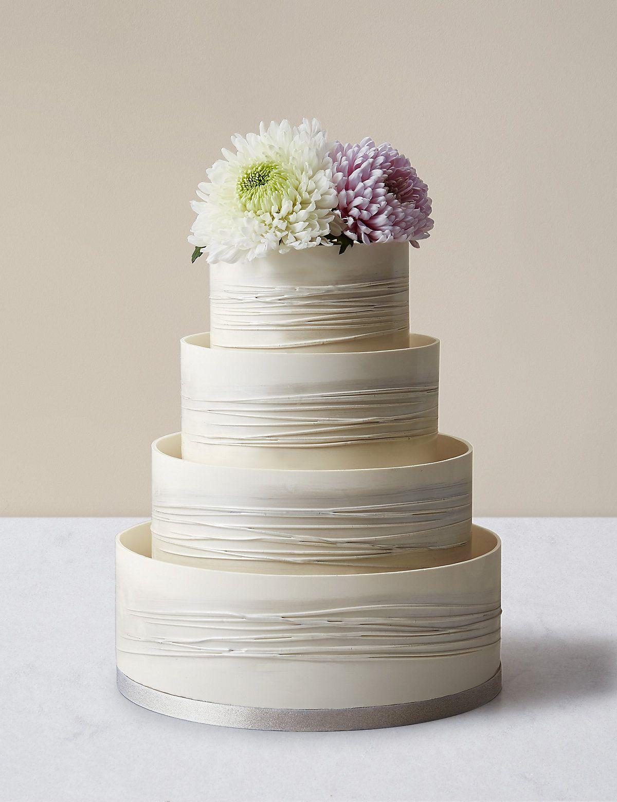 Shimmering Hoop Chocolate Wedding Cake - White & Silver (Serves 110 ...