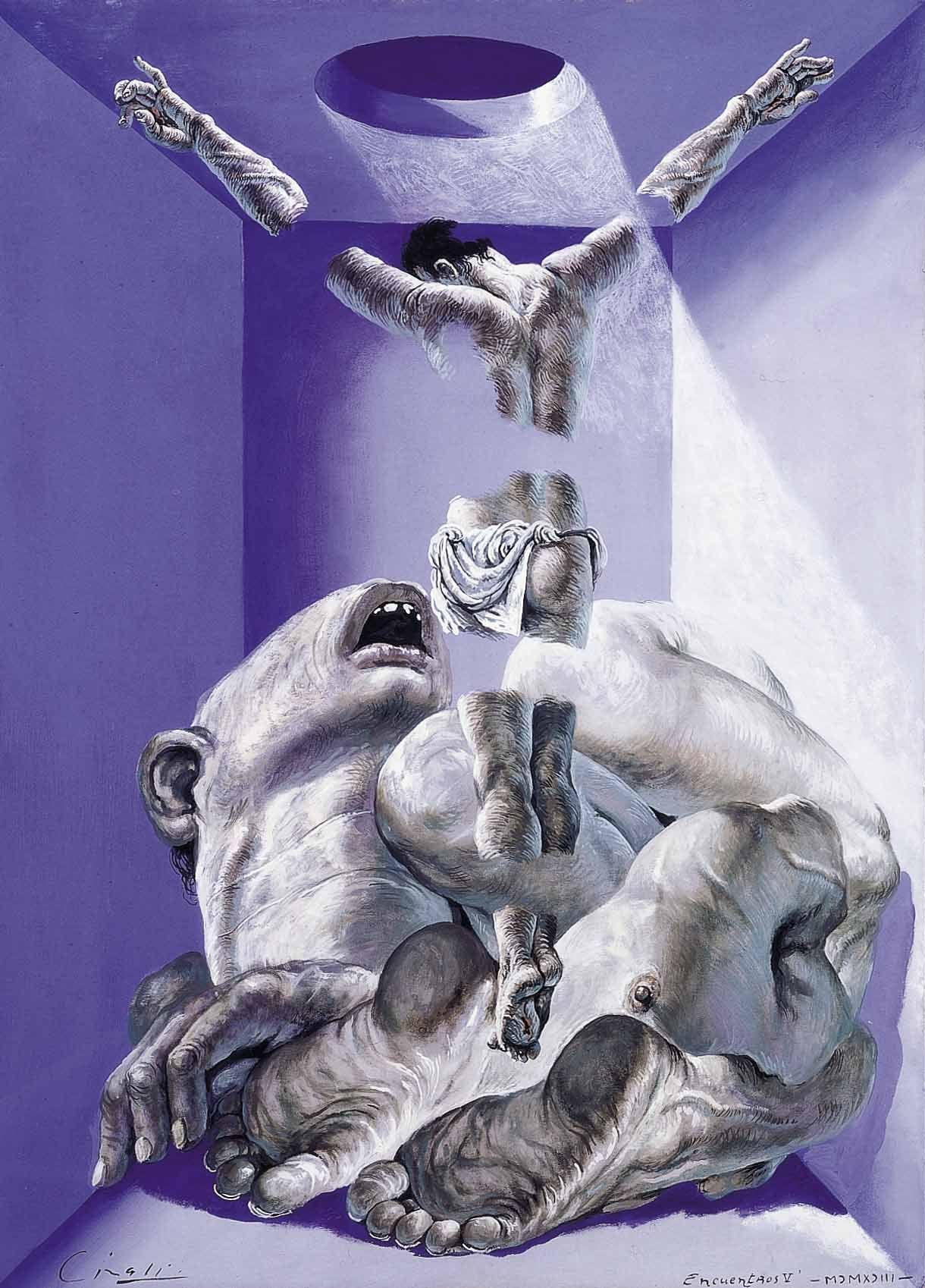 Encuentros, 1993. Témpera sobre cartón corrugado, 74 x 53 cm.