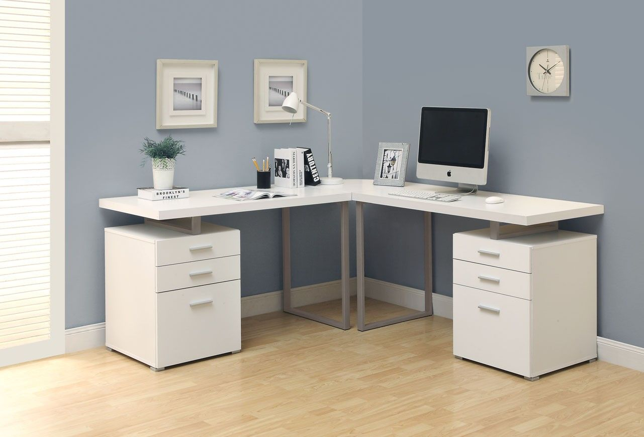 home office corner desks. Interior, Contemporary Computer Desk Design Inspiration With Fancy Corner In White Wood Material · ComputerHome Office Home Desks