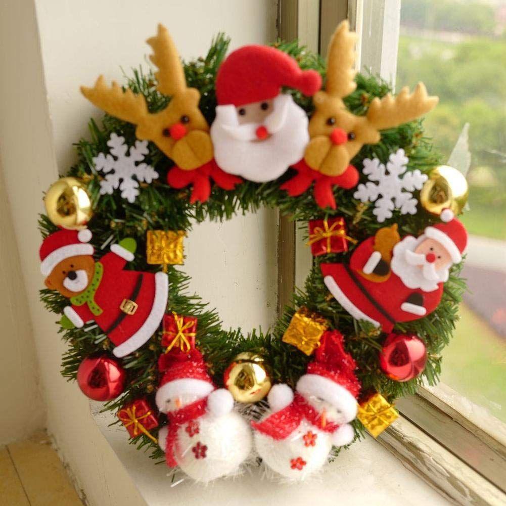 Newseely Christmas Garland Decorative Wreath With Cartoon Santa