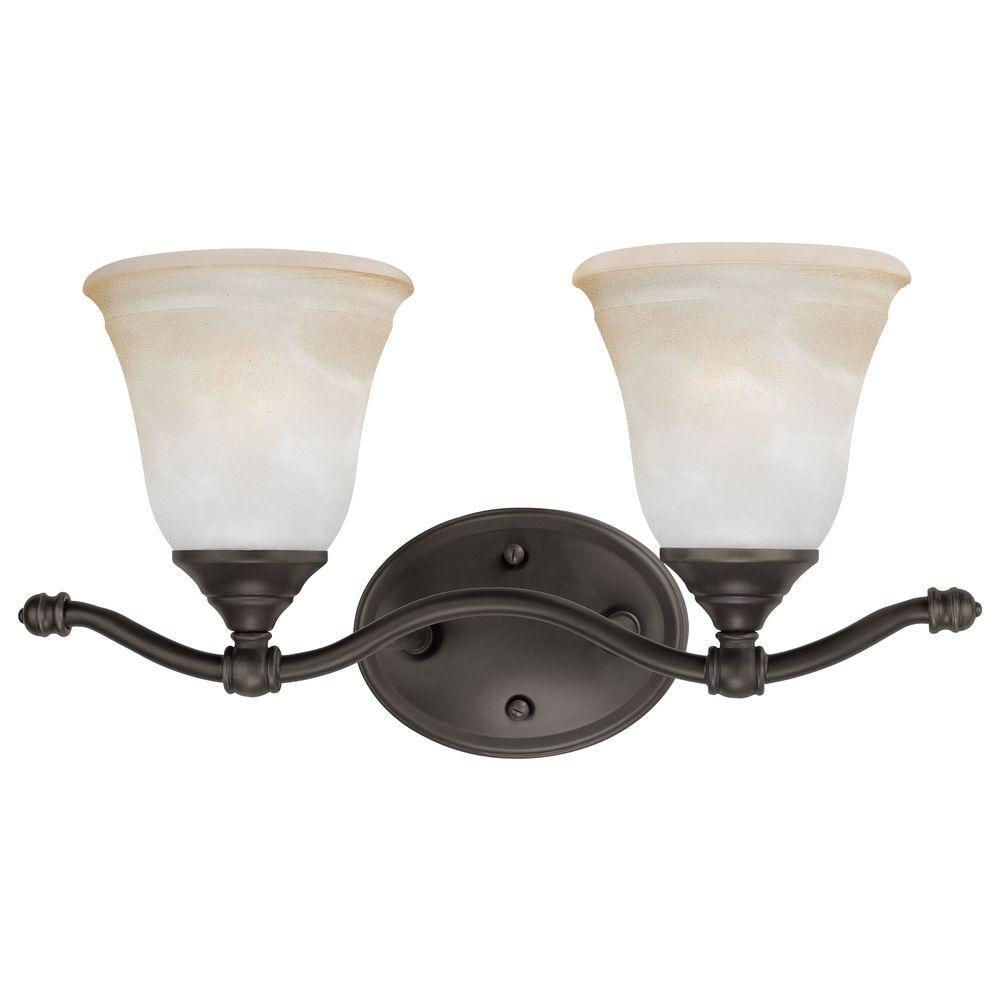 Photo of Thomas Lighting Harmony 2-Light Satin Pewter Bath Fixture SL760241 – The Home Depot