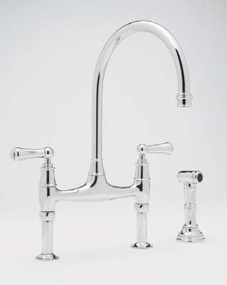 Rohl U 4719l Pn 2 Polished Nickel Perrin And Rowe Bridge Kitchen Faucet With Side Spray