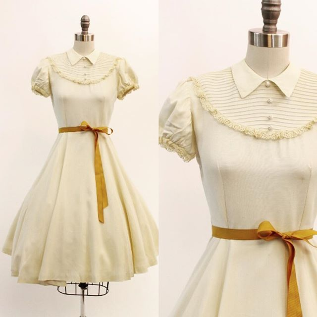 "N E W ! 1930's faille and crochet lace ruffle dress with the sweetest pintucked bib bodice! {size xs / 25"" waist}"