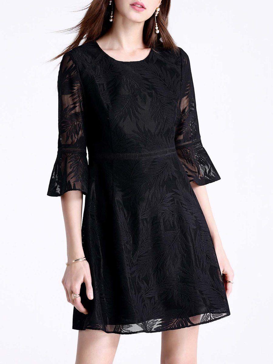 #AdoreWe #StyleWe Mini Dresses - Designer Moonbasa Lady Bell Sleeve Crew Neck Lace Paneled Elegant Mini Dress - AdoreWe.com