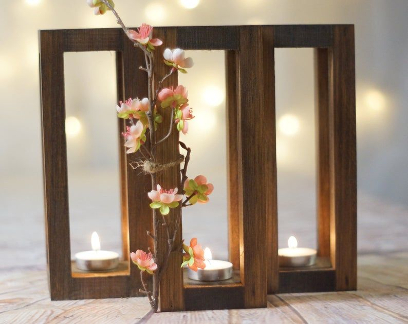 3 Rustic Wood Candle Lantern Wedding Lantern Rustic Lantern 5th