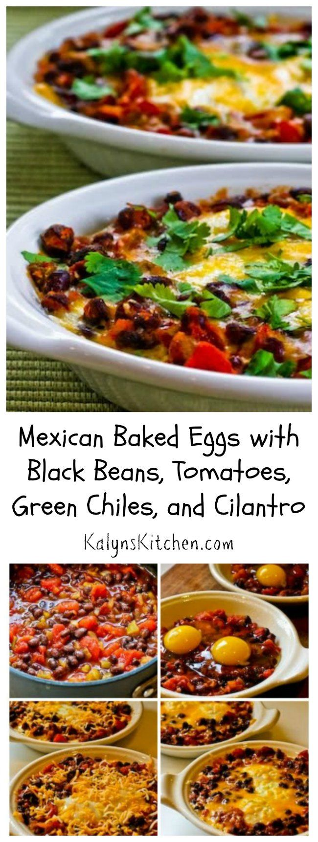 Mexican Baked Eggs with Black Beans, Tomatoes, Green Chiles, and Cilantro have been hugely popular on the blog, and this would be such a fun breakfast idea for Cinco de Mayo!  You can make a big casserole dish with lots of eggs if you're serving a crowd. [from KalynsKitchen.com]