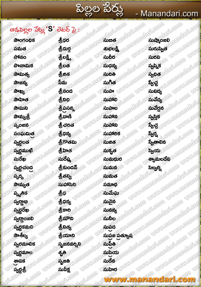 21+ Names with l in telugu info