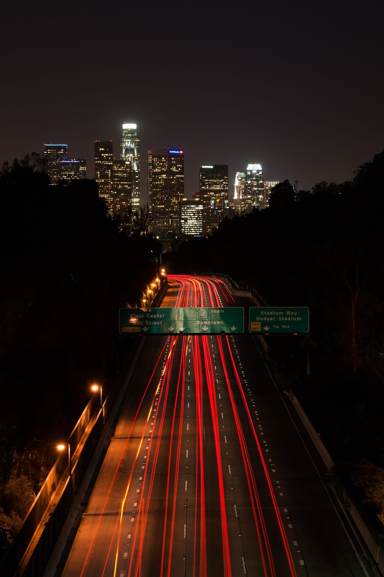 The 110 Freeway Heading Towards Downtown Los Angeles At An Overpass In Elysian Park North Of Downtown Urban Landscape Downtown Los Angeles Landscape