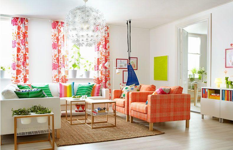 Wohnzimmer mit KARLSTAD Sofa, ÄLGÖRT Meterware, IKEA PS 2012, pink - wohnzimmer ideen pink