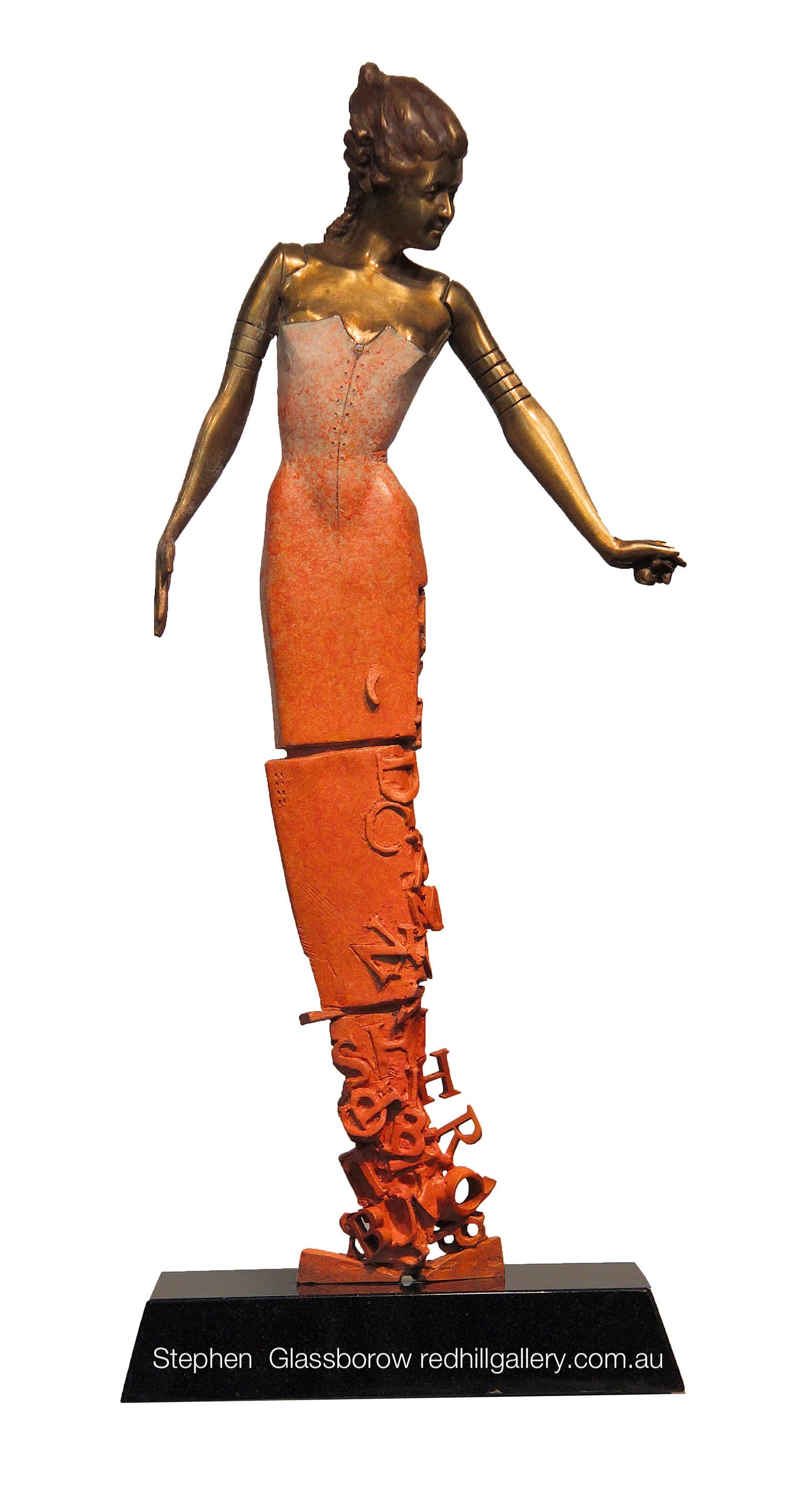 Stephen Glassborow, contemporary bronze sculpture. Red