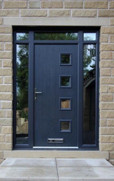 Milano composite door in grey with top light and side for Contemporary house doors