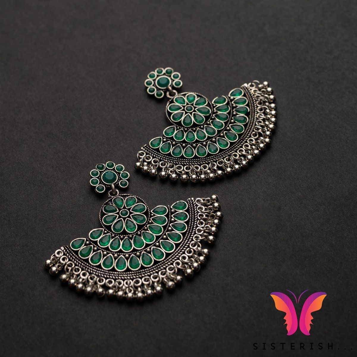 846c0210a8f7f Beautiful Designer Chand Bali Earrings | Sisterish German Silver ...