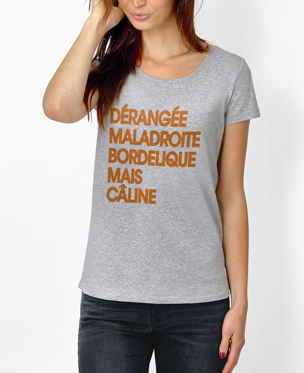 T-shirt Femme Câline Gris by Madame T-SHIRT QUOTES