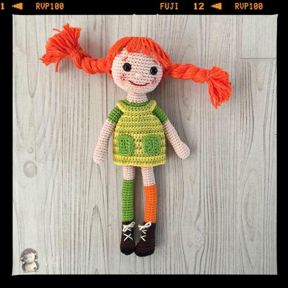 Patrón gratis para realizar una muñeca amigurumi de Pippi ...