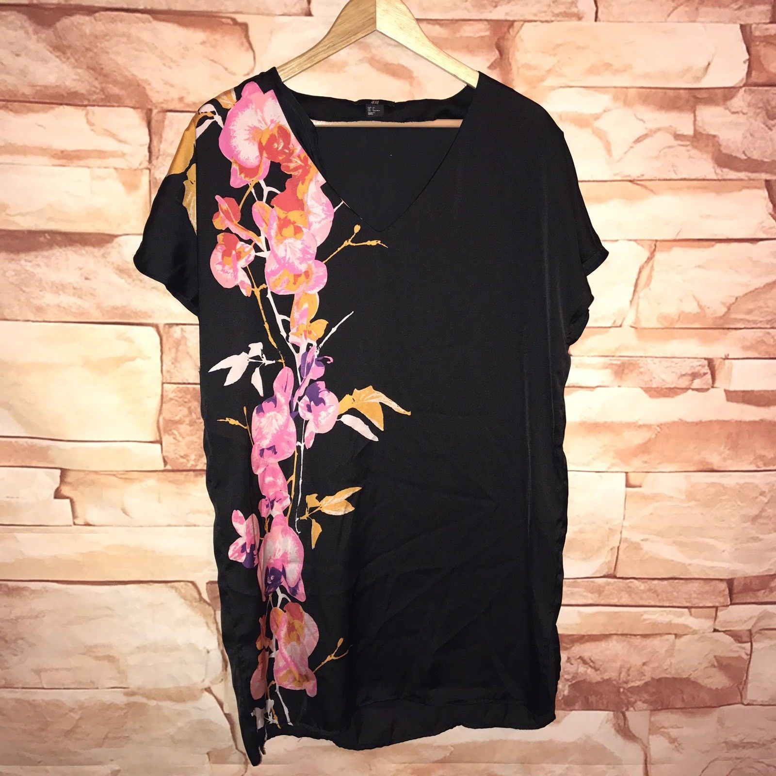 Pink dress shirt for women  Awesome Great H u M Womens  Dress Classic Black pink floral v neck