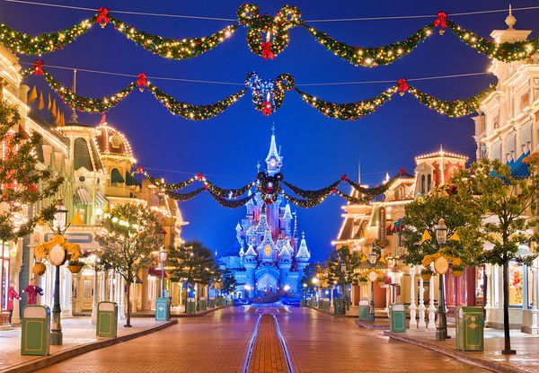 disney land at christmas time