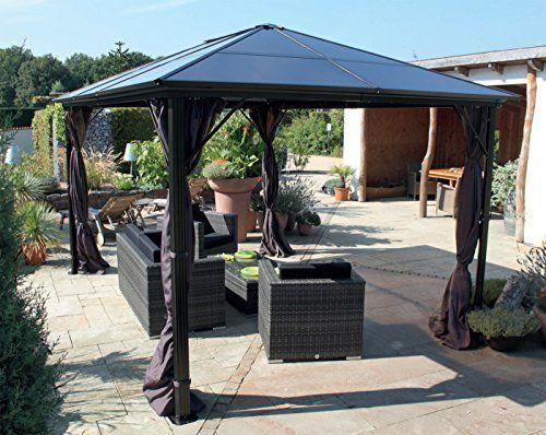 pavillon gartenpavillon luxuspavillon nabucco aus alu 3 x 4 m taupe dach polycarbonatplatten. Black Bedroom Furniture Sets. Home Design Ideas