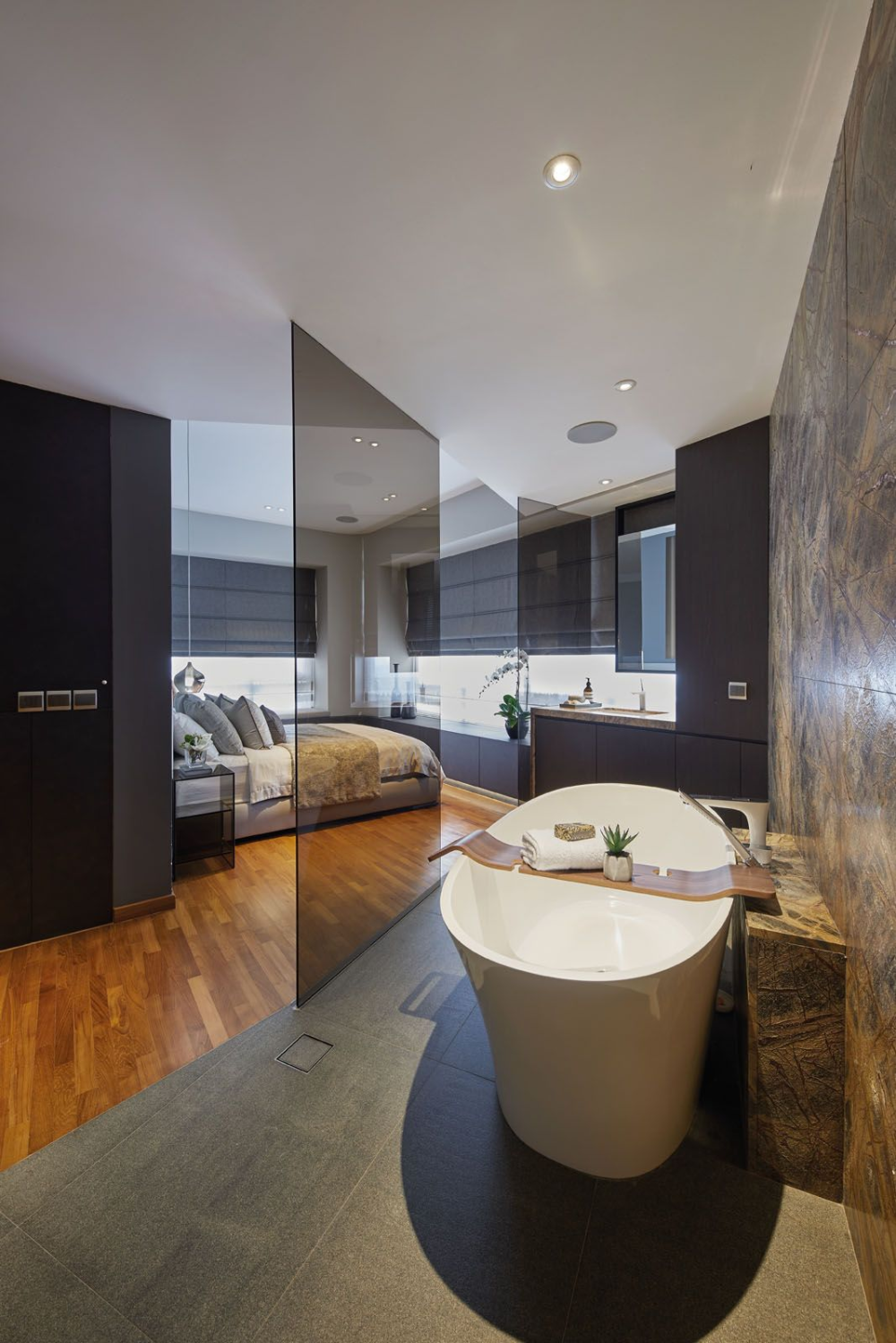 Home Tour This Romantic Open Plan Apartment Makes A Dream Home For Two Tatler Singapore Open Plan Bathrooms Open Plan Apartment Ensuite Bathroom Designs