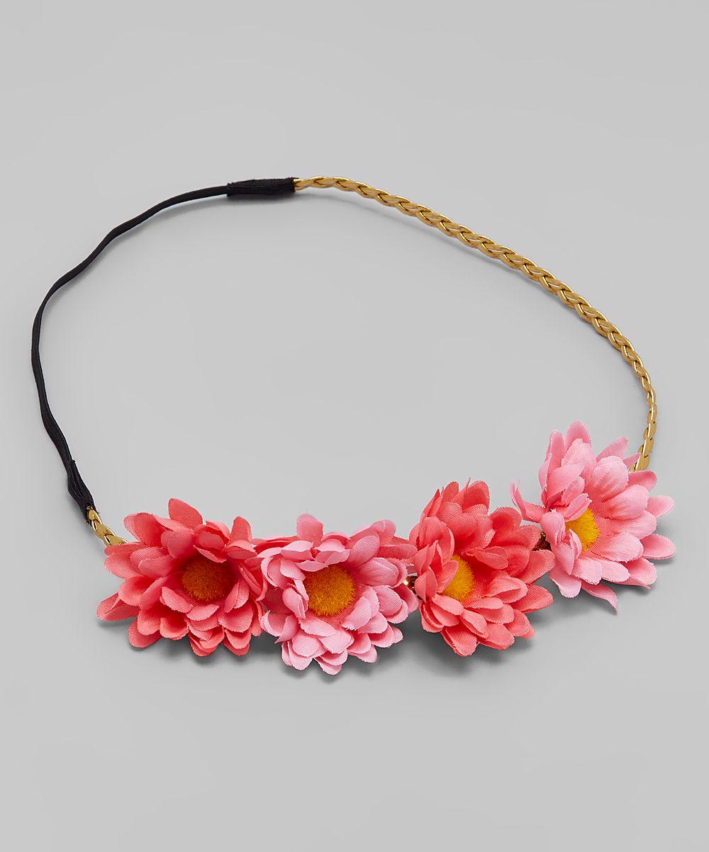 Coral Pink Daisy Flower Crown Headband Flower Crown Headband Pink