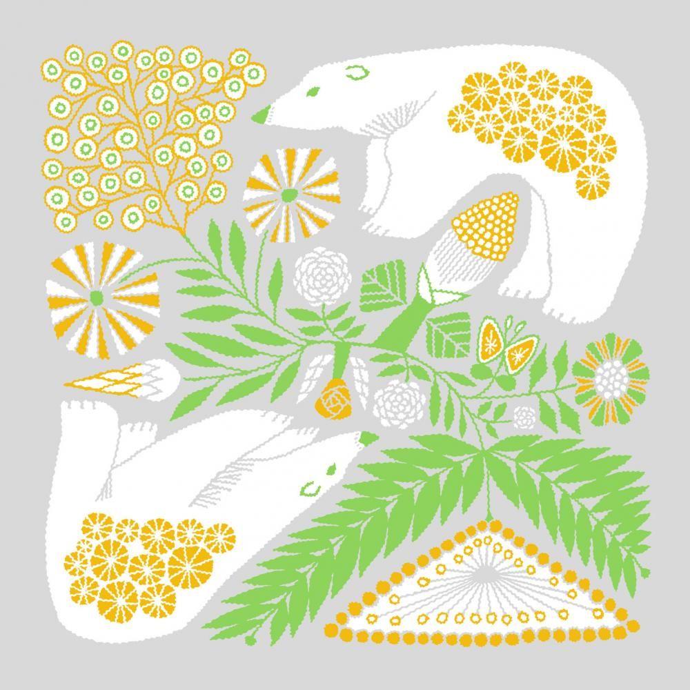 tenp01(正方形のダブルガーゼ) Mサイズ 白熊と植物(グレー) - 十布 |テンプ