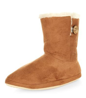 Tan Suedette Slipper Boots