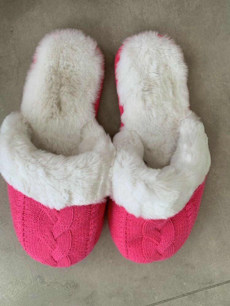 fe525c6c14d62 As New Victorias Secret Hot Pink Faux Fur House Slippers XL size 9 ...